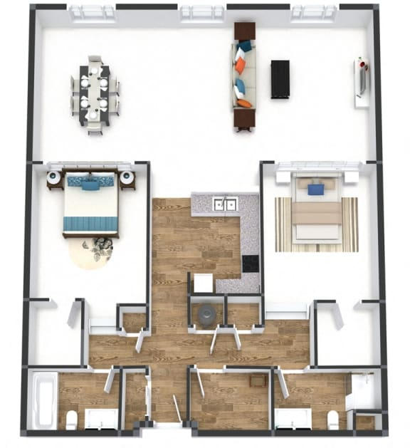 Two Bedroom Loft Floor Plan at The Lofts at Shillito Place, Ohio, 45202