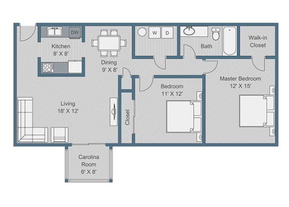 2x1 Deluxe Floor Plan  at Sterling Bluff Apartments, Georgia