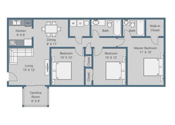 3x2 Standard Floor Plan at Sterling Bluff Apartments, Savannah, 31406