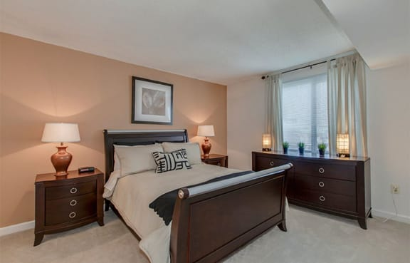Spacious bedroom at The Metropolitan in Bethesda, with designer accent walls, natural lighting, and ample room for large furniture.