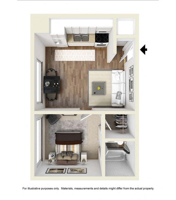 Floor Plan  one bedroom floor plan l Academy Lane Apartments in Davis CA