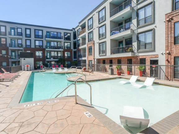 sparkling pool in luxury apartments near downtown