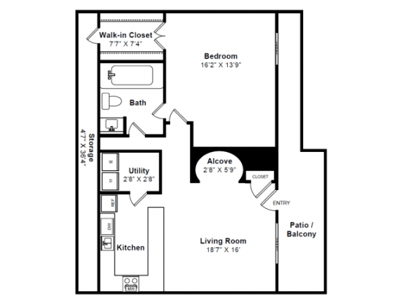 Floor Plan  Clarendon Floor plan at Windsor Village at Waltham, 976 Lexington Street, Waltham, MA 02452