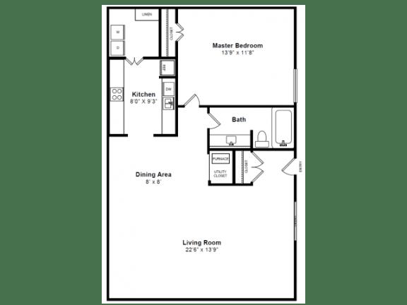 Floor Plan  Dartmouth Floor plan at Windsor Village at Waltham, 976 Lexington Street, Waltham, MA 02452