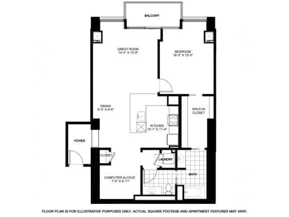One Bedroom Penthouse Floorplan at Flair Tower