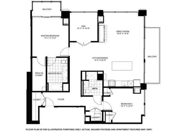 Two Bedroom Penthouse -2501 Floorplan at Flair Tower