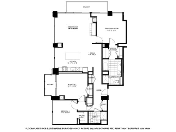 Three Bedroom Penthouse -2503 Floorplan at Flair Tower