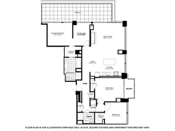Three Bedroom Penthouse -2502 Floorplan at Flair Tower