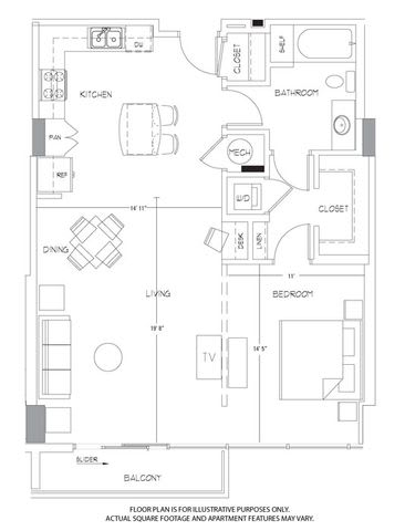A11A Floorplan at Glass House by Windsor