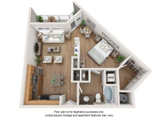 Floor Plan  Platin floor plan at Element 47 by Windsor, 2180 N. Bryant St., 80211