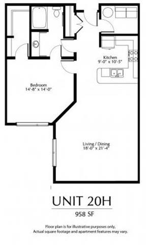 Floor Plan  Large 1 Bedroom Floorplan at The District