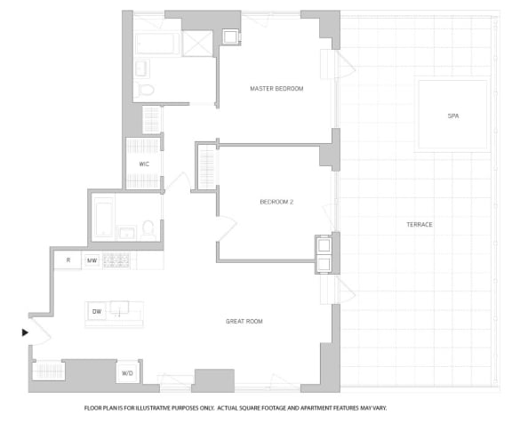 Floor Plan  2Br 2Bth 2 Floorplan at The Aldyn