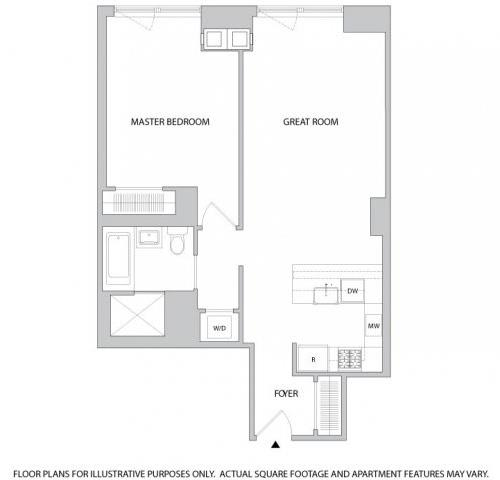 Floor Plan  1 Br 1Bth 2 Floorplan at The Aldyn