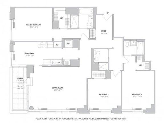 3BR 3Bth - 2 Floorplan at The Ashley