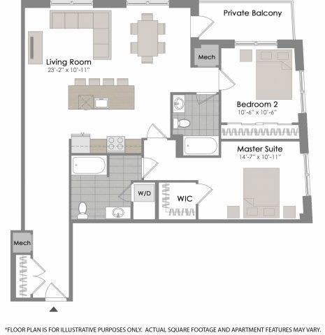Floor Plan  Floorplan at Twenty50 by Windsor, 2050 N. Central Rd., Fort Lee, NJ 07024