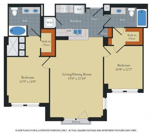 Floorplan at Halstead Tower by Windsor, 4380 King Street, VA 22302
