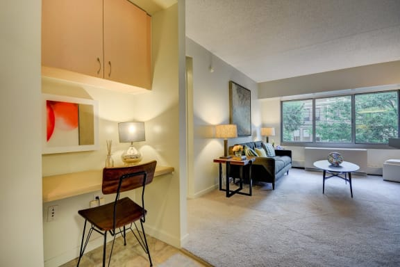 Built-In Workstation with Additional Storage- Windsor at the Gramercy Luxury Apartments