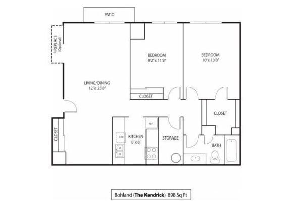Floor Plan  The Kendrick Apartments For Rent in St. Paul, MN 2 Bedroom 1 Bath