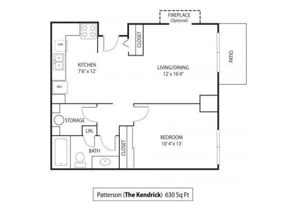 Floor Plan  The Kendrick Apartments For Rent in St. Paul, MN 1 Bedroom 1 Bath