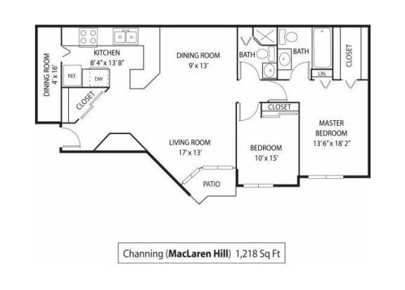 Floor Plan  MacLaren Hill Apartments in St. Paul, MN 2 Bedroom 2 Bathroom Apartment