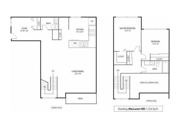 Floor Plan  MacLaren Hill Apartments in St. Paul, MN 2 Bedroom 1.5 Bathroom Apartment