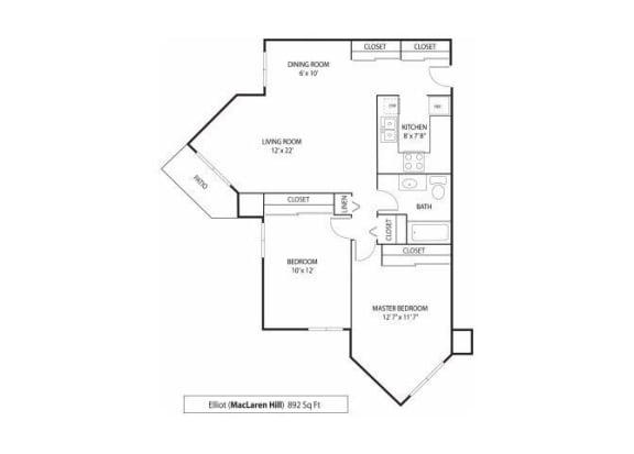 Floor Plan  MacLaren Hill Apartments in St. Paul, MN 2 Bedroom 1 Bathroom Apartment