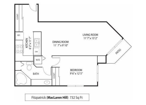 Floor Plan  MacLaren Hill Apartments in St. Paul, MN 1 Bedroom 1 Bathroom Apartment