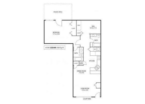 Floor Plan  Cedar 1 Den