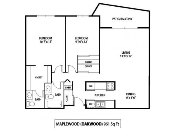 Oakwood Apartments in Plymouth, MN 2 Bedroom 1.5 Bath