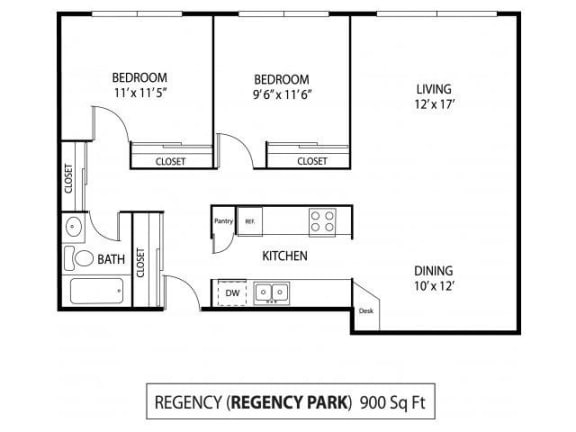 Regency Park Apartments in North St. Paul, MN 2 Bedroom 1 Bath