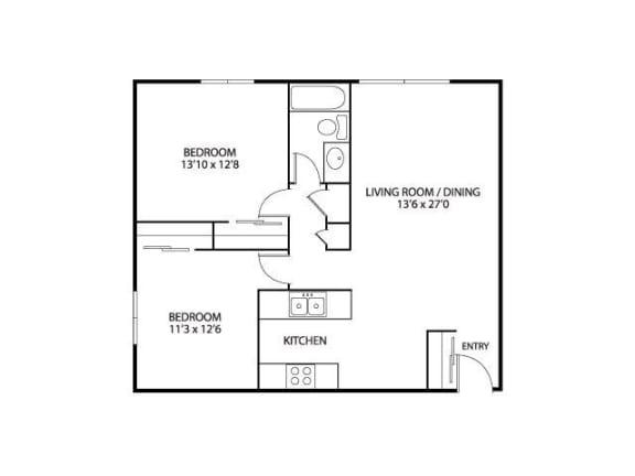 Silver Ridge Apartments in Maplewood, MN 2 Bedroom 1 Bath