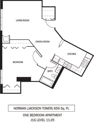Galtier Towers Apartments in Lowertown, St. Paul, MN 1 Bedroom 1 Bath Apartment