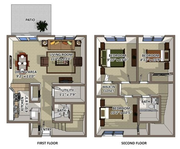 Floor Plan  The Churchill Floor Plan at South Square Townhomes, North Carolina