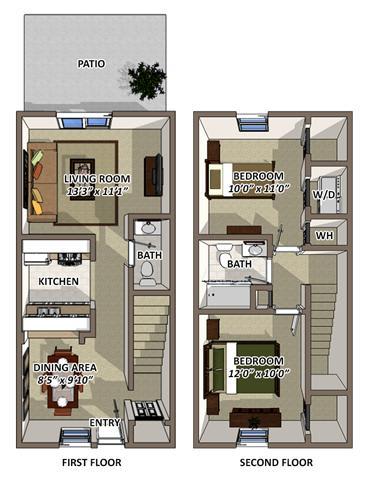 Floor Plan  The Windsor 2 Floor Plan at South Square Townhomes, North Carolina, 27707