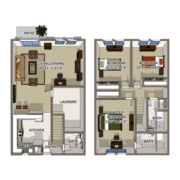 The Lake Floor Plan at Lakecrest, Greenville, SC