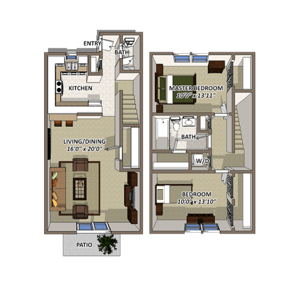 The Towne Floor Plan at Lakecrest, Greenville, South Carolina
