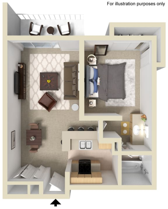 One Bed One Bath Floor Plan, at The Madison Park, Apartment Homes in Anaheim, CA