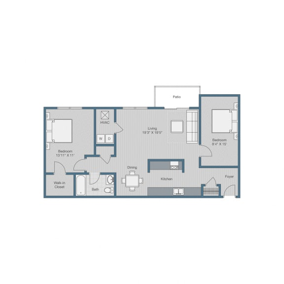 Floor Plan  1 Bedroom/ 1 Bath w Den Floor Plan at Sterling Beaufont Apartments