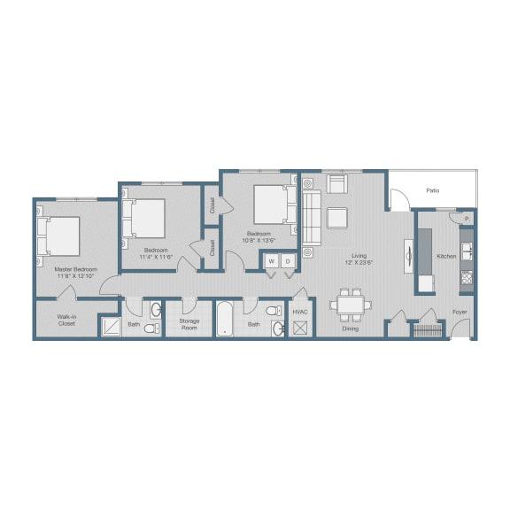 3 Bedroom/ 2 Bath Floor Plan Floor Plan at Sterling Beaufont Apartments, Richmond, VA, 23225
