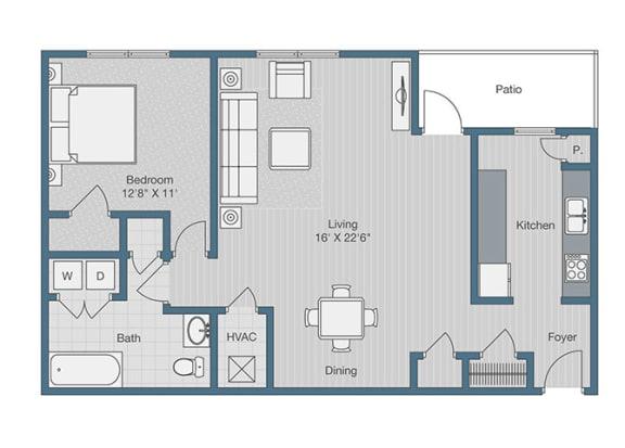 1 Bedroom/ 1 Bath Floor Plan at Sterling Beaufont Apartments, Richmond, VA