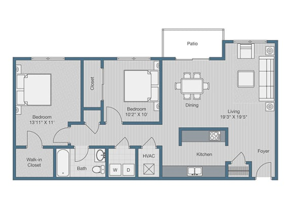 Floor Plan  2 Bedroom/ 1 Bath Floor Plan at Sterling Beaufont Apartments