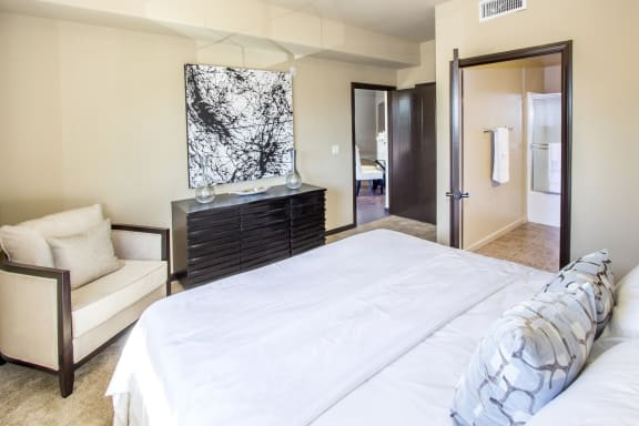 Ample Bedrooms that Accommodate King-Size Beds at Le Blanc Apartment Homes, Canoga Park, California