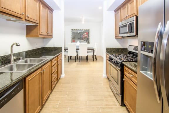 Granite Countertops At Kitchen and Bathrooms at Le Blanc Apartment Homes, Canoga Park
