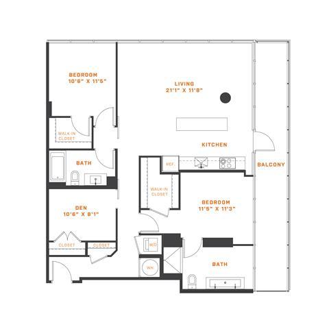 Floor Plan  BD1 Den