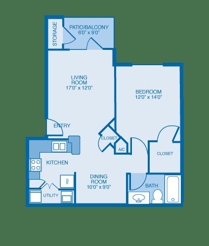 Aspen Floor Plan at Ethan Pointe Apartments, Burlington