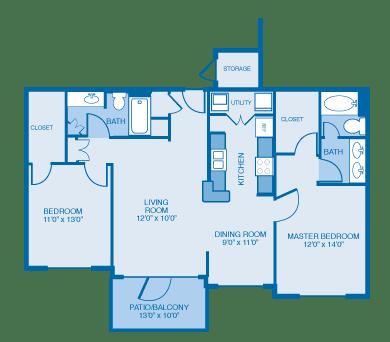 Jacobean Floor Plan at Ethan Pointe Apartments, Burlington, NC, 27215