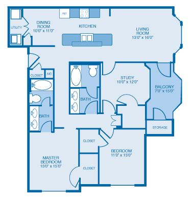 Victorian Floor Plan at Ethan Pointe Apartments, Burlington, North Carolina
