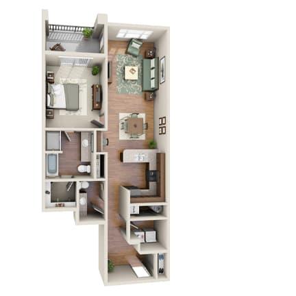 Floor Plan  The Cobalt Floor Plan at LangTree Lake Norman Apartments, Mooresville, North Carolina