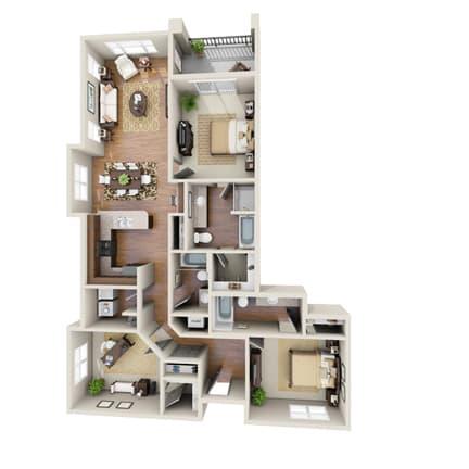 Floor Plan  The Sundancer Floor Plan at LangTree Lake Norman Apartments, Mooresville, NC, 28117