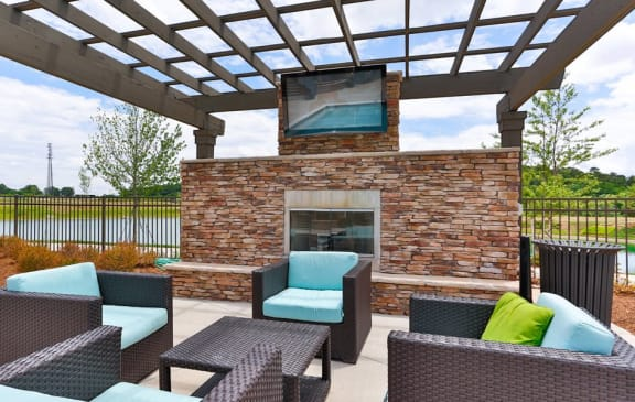 Outdoor Lounge at LangTree Lake Norman Apartments, Mooresville, 28117